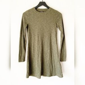 TopShop Olive Green Ribbed Long Sleeve Tunic Dress